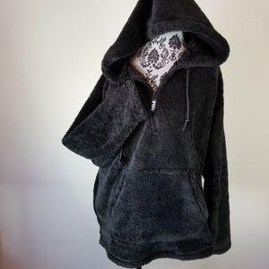 PINK Victoria's Secret Teddy Pullover Hoodie Black